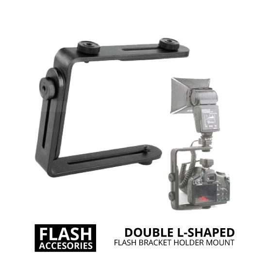 jual Double L-Shaped Flash Bracket Holder Mount
