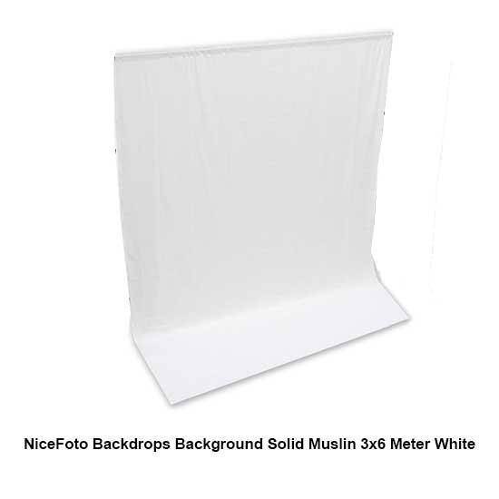 Jual NiceFoto Backdrops Background Solid Muslin 3x6 Meter White Surabaya Jakarta