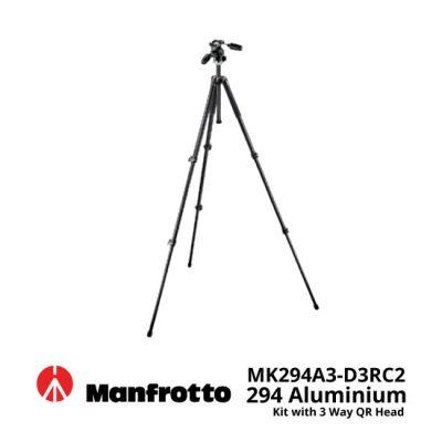 jual Manfrotto MK294A3-D3RC2 294 Aluminium Tripod Kit with 3 Way QR Head