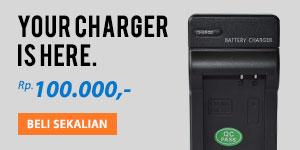 beli charger baterai kamera sekalian