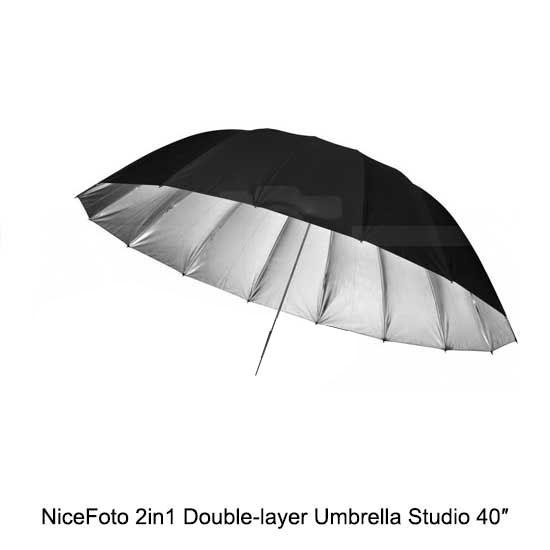 Jual nicefoto 2in1 double layer umbrella studio 40″