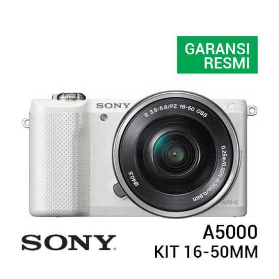 jual kamera mirrorless Sony A5000 Kit 16-50mm Putih harga murah surabaya jakarta