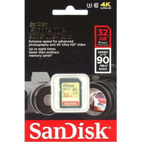 Jual Sandisk extreme SDHC UHS-I U3 V30 90MB-S 600x - 32GB Harga Terbaik dan Spesifikasi