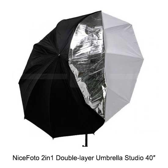NiceFoto 2in1 Double-layer Umbrella Studio 40″