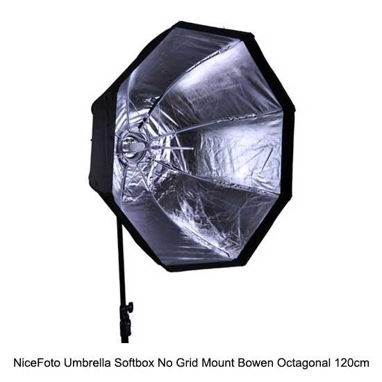 NiceFoto Umbrella Softbox No Grid Mount Bowen Octagonal 120cm