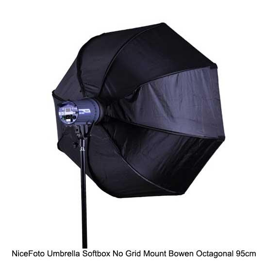 NiceFoto Umbrella Softbox No Grid Mount Bowen Octagonal 95cm