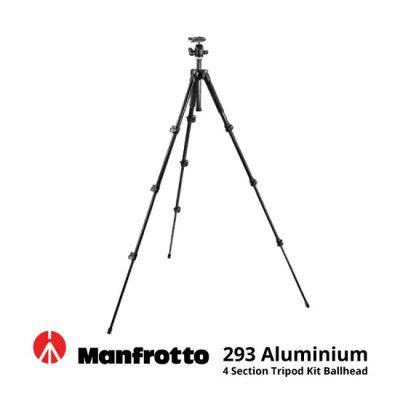 jual Manfrotto 293 Aluminium 4 Section Tripod Kit Ballhead