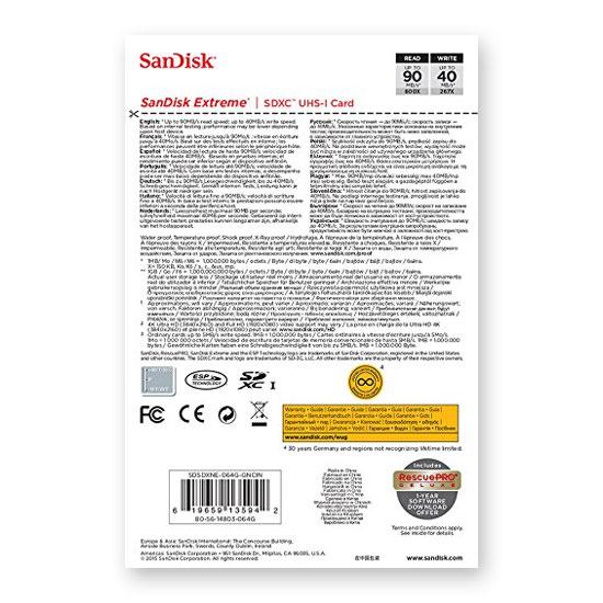 Jual Sandisk Extreme SDXC 90Mb/S - 64GB