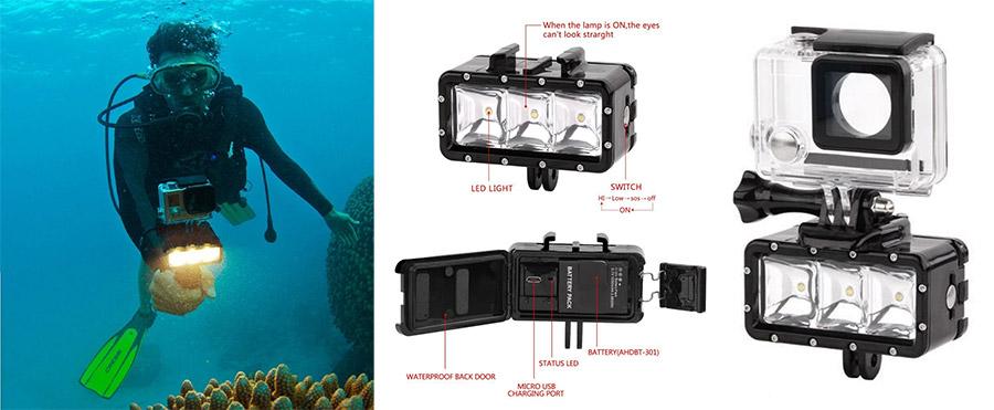 Jual Hunter Telesin Waterproof LED Light For Gopro