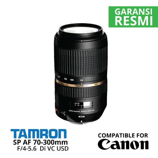 Jual Lensa Tamron Canon SP AF 70-300 mm Di VC USD F/4-5.6 untuk Canon Harga Murah Surabaya & Jakarta