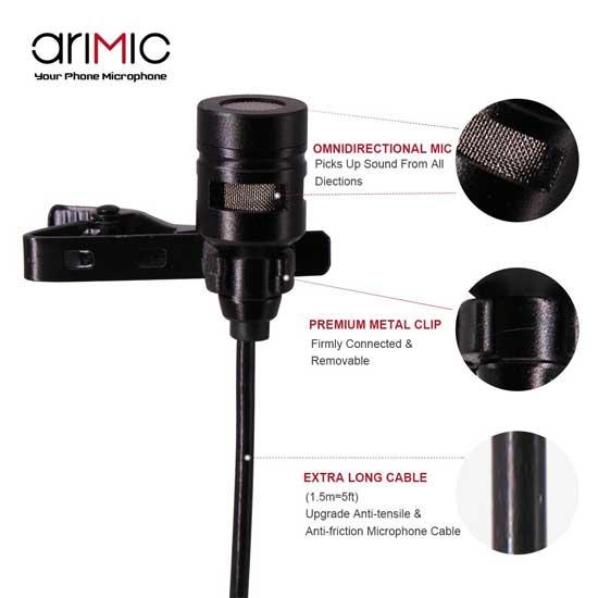 Jual Ulanzi AriMic Dual-Head Lavalier Microphone 1.5m