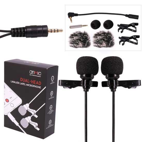 Jual Ulanzi AriMic Dual-Head Lavalier Microphone 6m