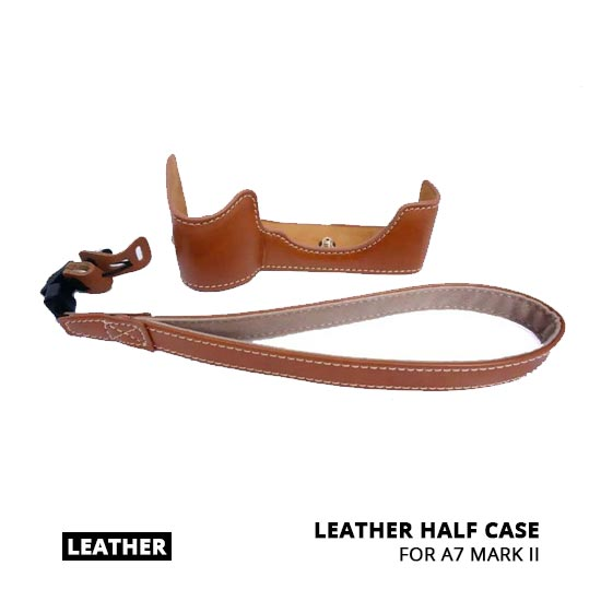 jual Leather Half Case for A7 Mark II Brown