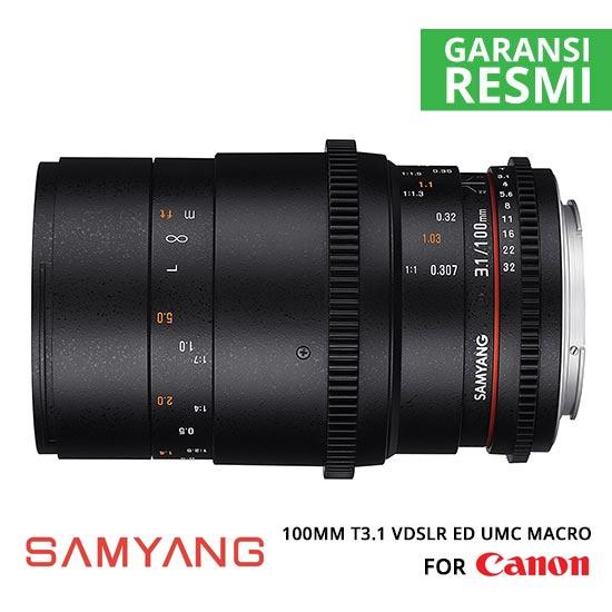 Jual Lensa Samyang 100mm T3.1 VDSLR ED UMC MACRO for Canon Murah. Cek Harga Lensa Samyang 100mm T3.1 VDSLR ED UMC MACRO for Canon disini, Toko Kamera Online Surabaya Jakarta - Plazakamera.com