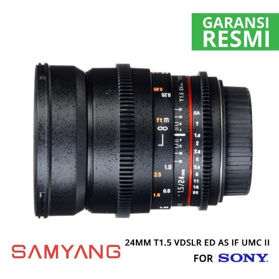 Jual Lensa Samyang 24mm T1.5 VDSLR ED AS IF UMC II for Sony Murah. Cek Harga Lensa Samyang 24mm T1.5 VDSLR ED AS IF UMC II for Sony di Toko Kamera Online Surabaya Jakarta - Plazakamera.com