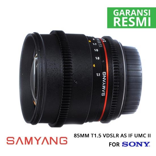 Jual Lensa Samyang 85mm T1.5 VDSLR AS IF UMC II for Sony Murah. Cek Harga Lensa Samyang 85mm T1.5 VDSLR AS IF UMC II for Sony di Toko Kamera Online Surabaya Jakarta Indonesia - Plazakamera.com