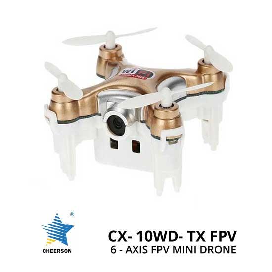 Jual Mini Drone Cheerson CX-10WD-TX 6-Axis FPV Mini Drone Gold Murah. Cek Harga Mini Drone Cheerson CX-10WD-TX 6-Axis FPV Mini Drone Gold disini, Toko Drone Online Surabaya Jakarta - Plazakamera.com