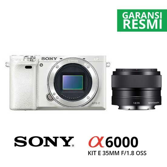 Jual Digital Kamera Mirrorless Sony A6000 Kit E 35mm f/1.8 OSS White harga murah