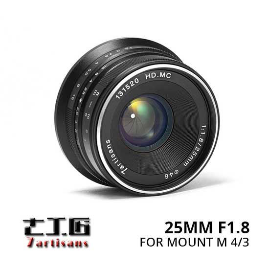 Jual Lensa 7Artisans 25mm f1.8 for Panasonic dan Olympus M 43 - Black