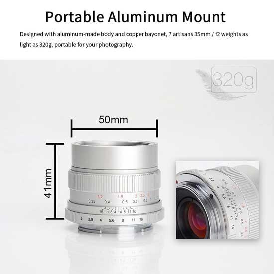 Jual Lensa 7Artisans 35mm f2.0 for Fujifilm X - Silver