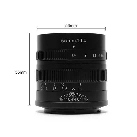 Jual Lensa 7Artisans 55mm f1.4 for Canon EF-M - Black