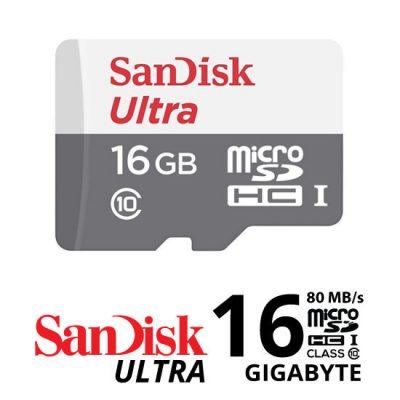 Jual Aksesoris Kamera Memory Card Sandisk Ultra MICROSDHC 80MbS - 16GB Harga Murah