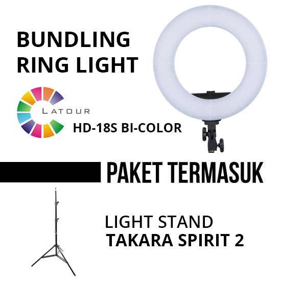 Jual Studio Tools Continuous Paket Bundling Latour Ring Light LED HD-18S Bi-Color Harga Murah