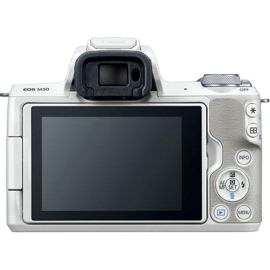 Jual Kamera Mirrorless Canon EOS M50 Kit EF-M 15-45mm + EF-M 55-200mm White Harga Murah