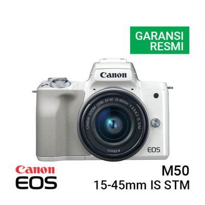 Jual Kamera Mirrorless Canon EOS M50 Kit EF-M 15-45mm IS STM White Harga Murah