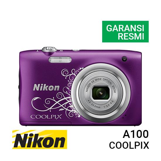 Jual Kamera Pocket Nikon Coolpix A100 Purple Motif Harga Murah