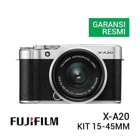 jual kamera mirrorless FUJIFILM X-A20 Kit 15-45mm f/3.5-5.6 OIS PZ Silver harga murah surabaya jakarta