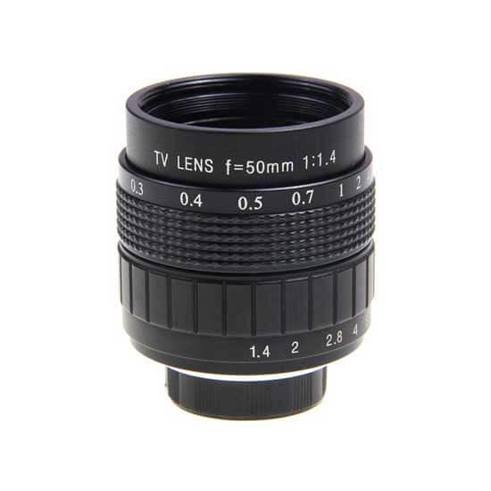 jual lensa Fujian 50mm F1.4 CCTV Lens Black harga murah surabaya jakarta