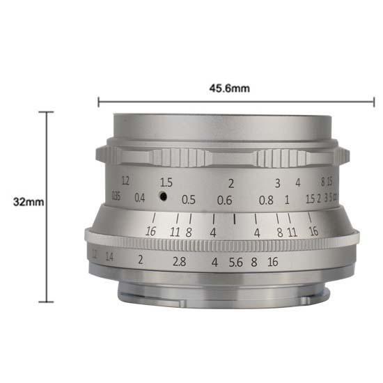 Jual 7Artisans 35mm F1.2 For M 4-3 Silver Harga Murah dan Spesifikasi