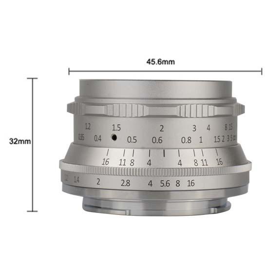Jual Lensa 7Artisans 35mm f1.2 for Fuji-X -SILVER Harga Murah dan Spesifikasi