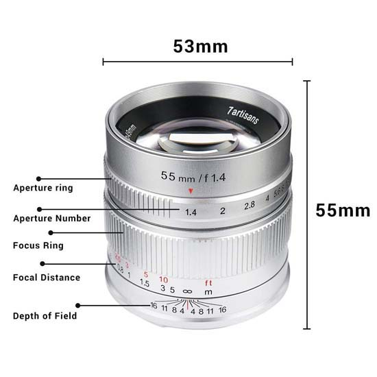 Jual Lensa 7Artisans 55mm F1.4 For Fujifilm X Silver Harga Murah Terbaik dan Spesifikasi
