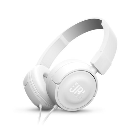 Jual JBL T450 On-Ear Headphone White Harga Murah dan Spesifikasi. JBL Pure Bass sound, Desain ringan dan dapat dilipat, 1 tombol kontrol mikrofon.
