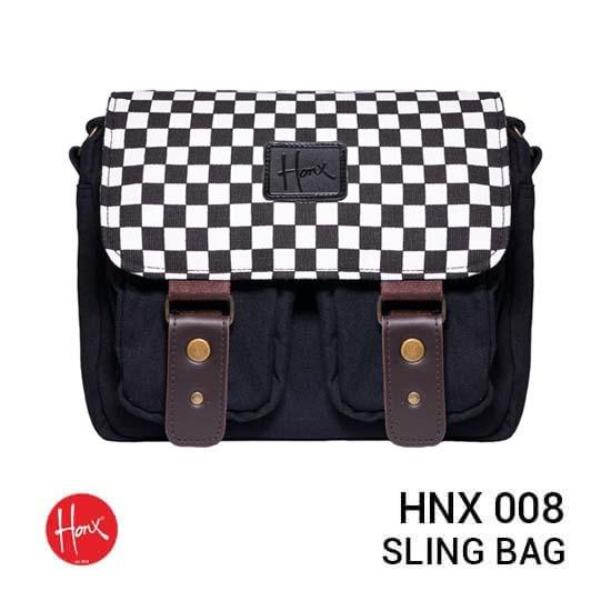 Jual HONX HNX 008 Sling Bag Black White Harga Murah dan Spesifikasi